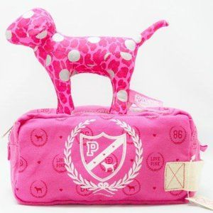 PINK Victoria's Secret Cosmetic Bag Dog Crest Mono